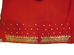 Red Designer Gerogette (Synthetic) Hand Embroidery Stone Border Sari Saree