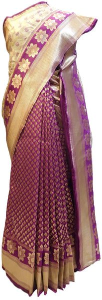 Purple & Cream Designer Bridal Hand Weaven Pure Benarasi Zari Work Saree Sari With Blouse