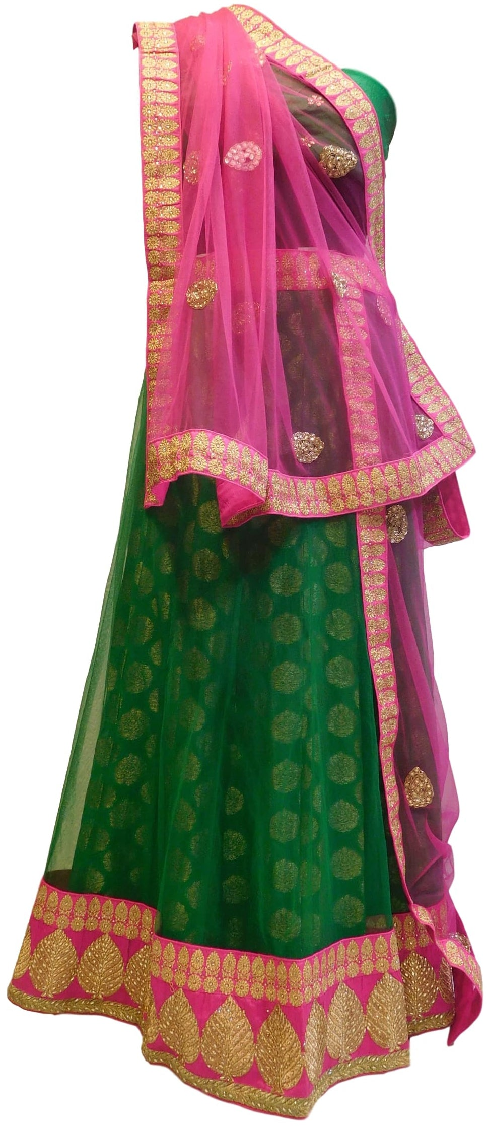 Pink & Green Designer Bridal Hand Embroidery Work Net Lahenga With Net Dupatta & Silk Blouse