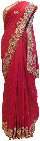 Merron Designer Georgette Hand Embroidery Cutdana Thread Beads Stone Work Saree Sari