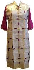 Wine, White & Golden Designer Georgette & Cotton (Chanderi) Kurti