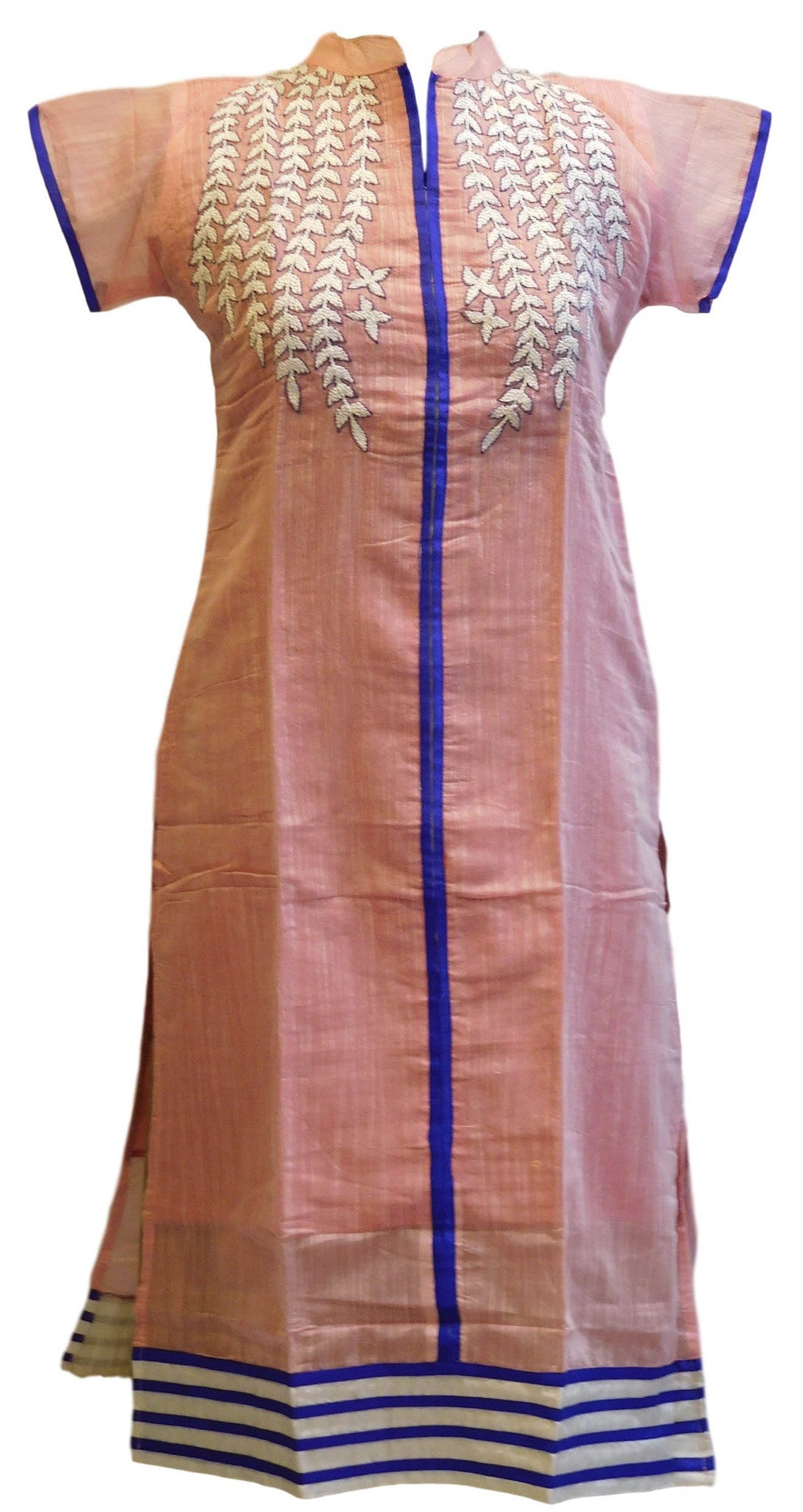 Peach Designer Cotton (Chanderi) Kurti