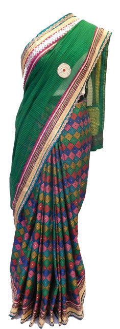 Green Designer Supernet Saree