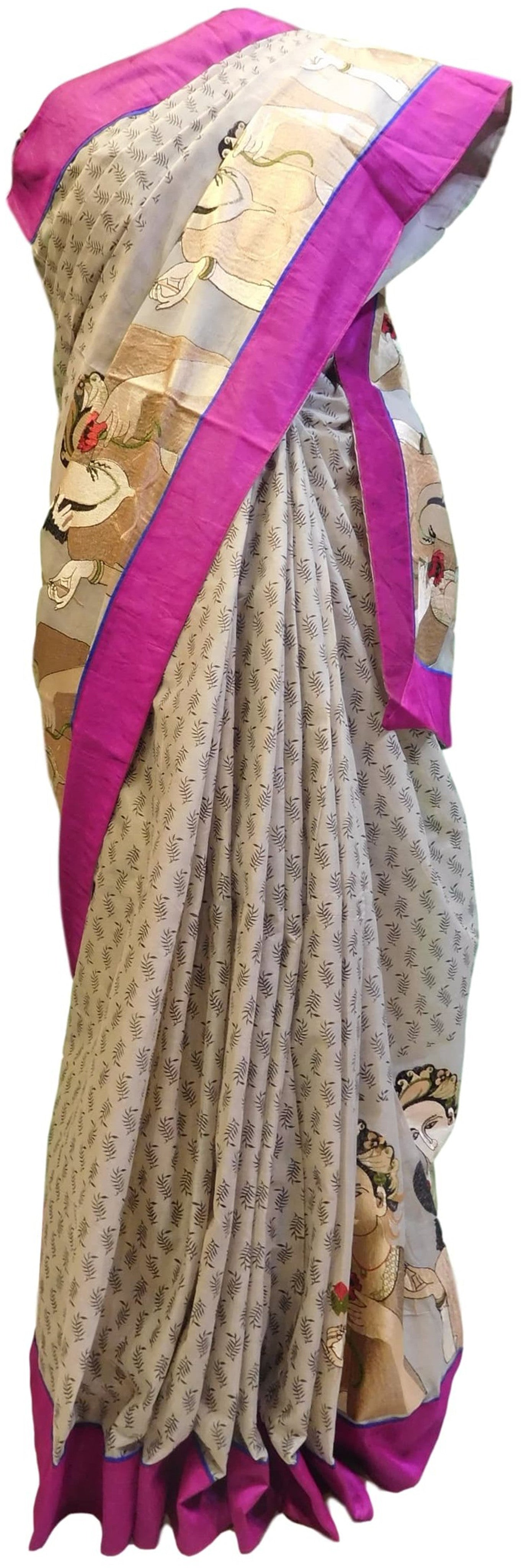 White Designer Pure Cotton Thread Embroidery Printed Sari With Merron Border Saree