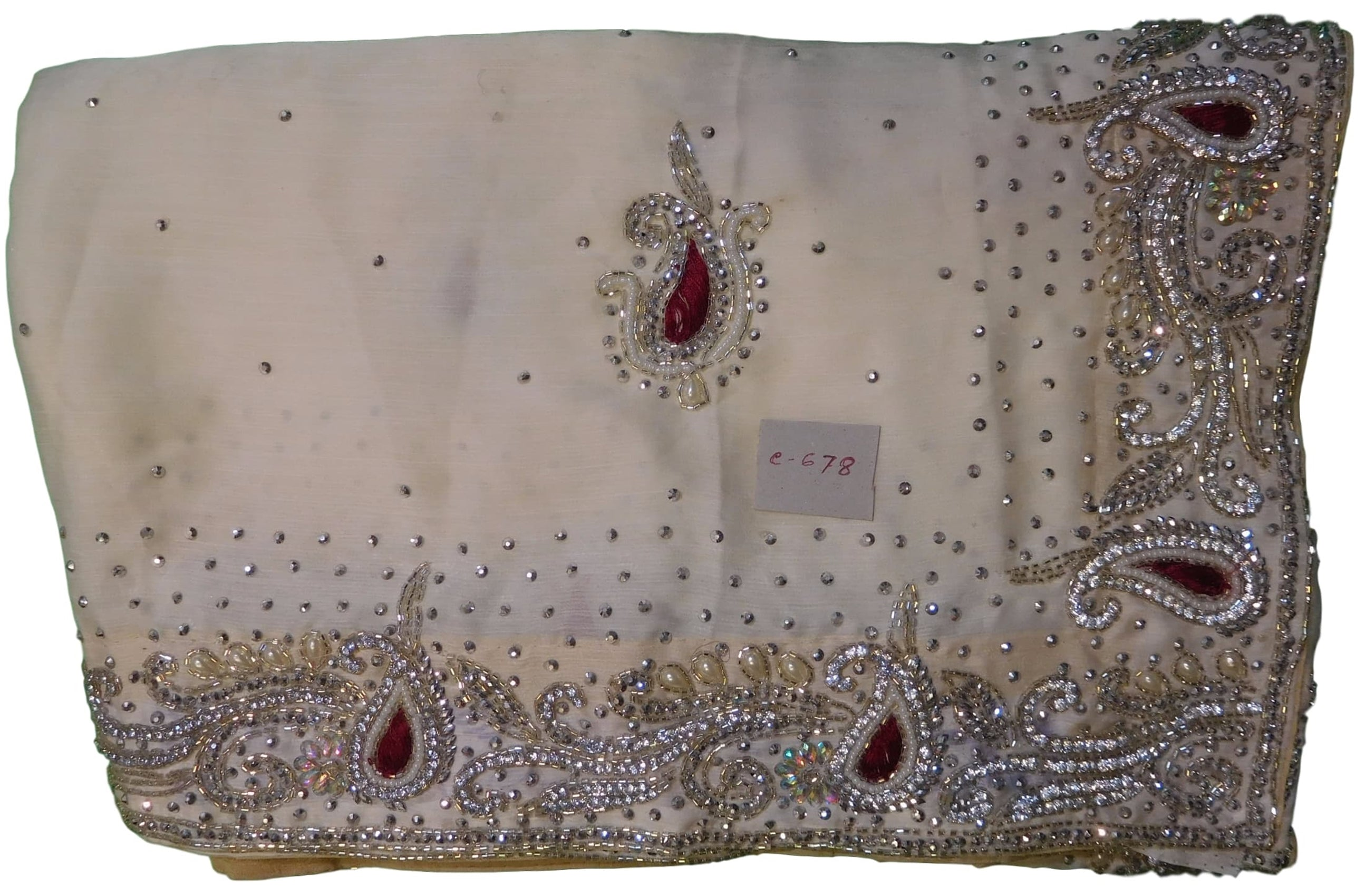 White Designer Crepe (Chinon) Hand Embroidery Cutdana Pearl Beads Thread Stone Work Saree Sari