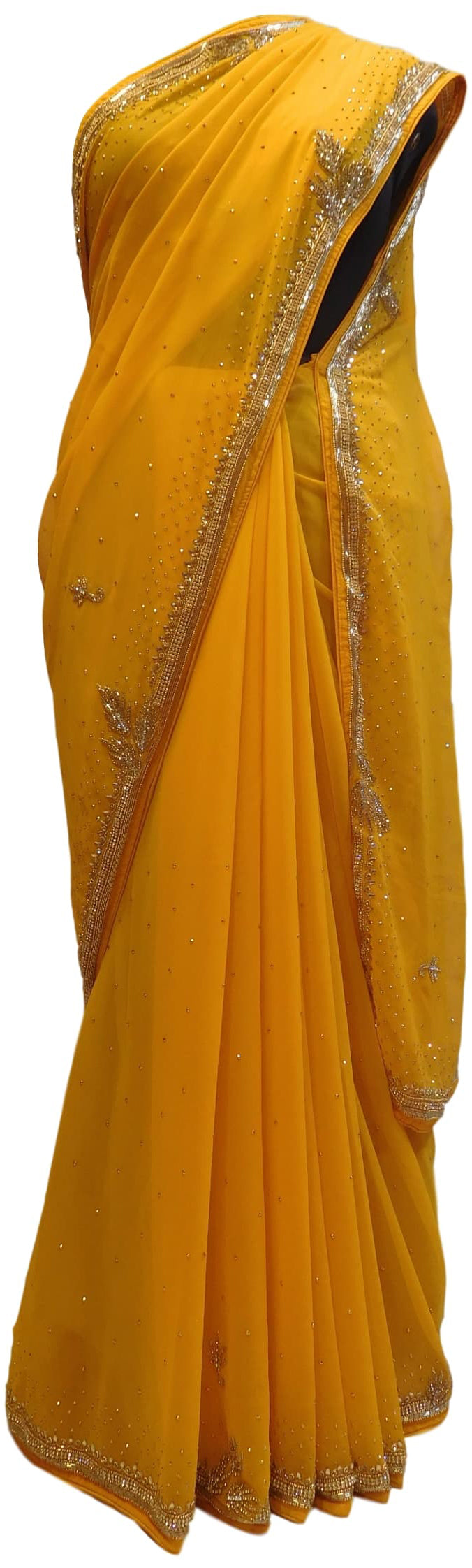 Yellow Designer Georgette Hand Embroidery Cutdana Stone Beads Work Saree Sari