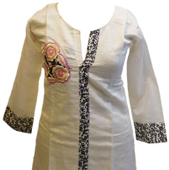 White & Black Designer Cotton (Chanderi) Kurti