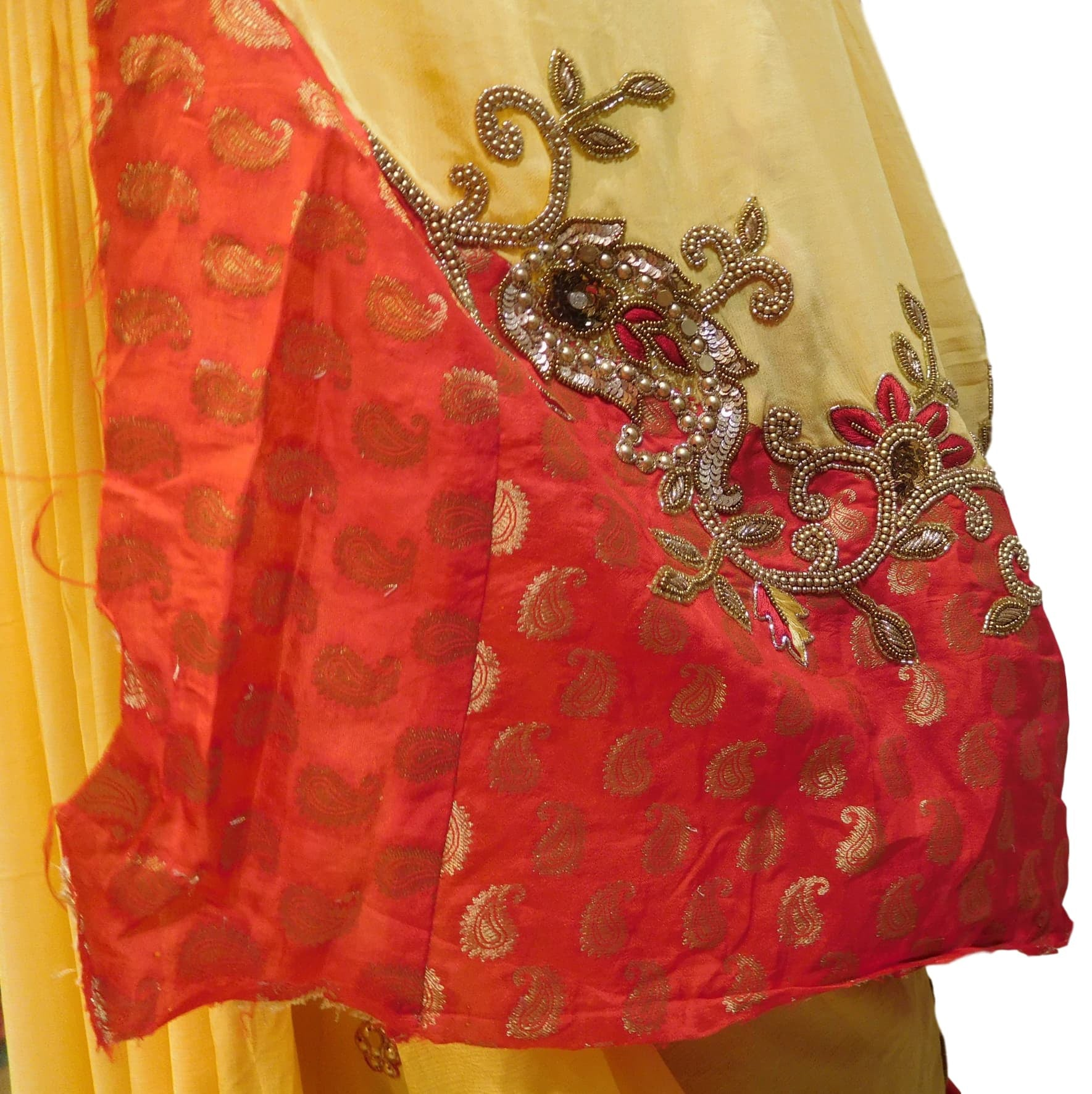 Red & Yellow Designer Georgette (Viscos) Hand Embroidery Work Saree Sari