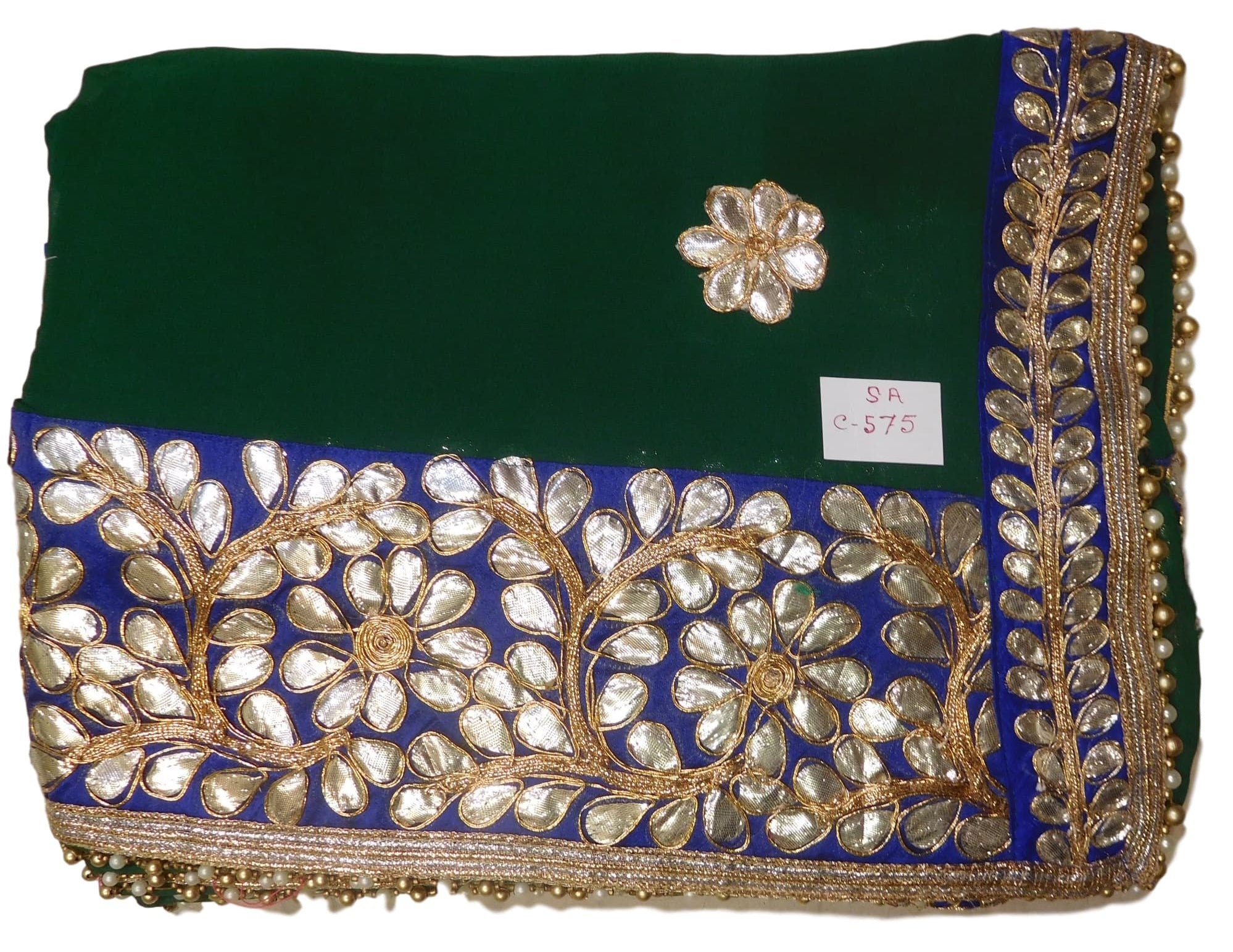 Bollywood Style Green Georgette (Viscos) Gota Work Saree With Blue Border & Pearl Lace Sari