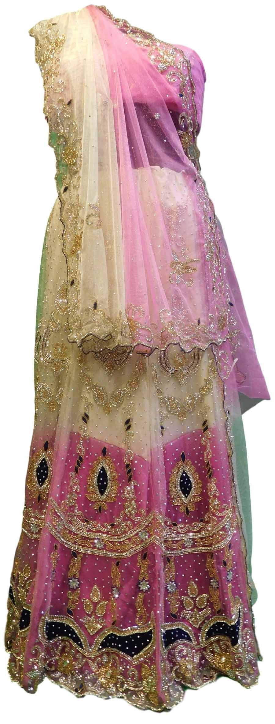 Pink & Cream Designer Bridal Lahenga With Net Dupatta & Net Blouse