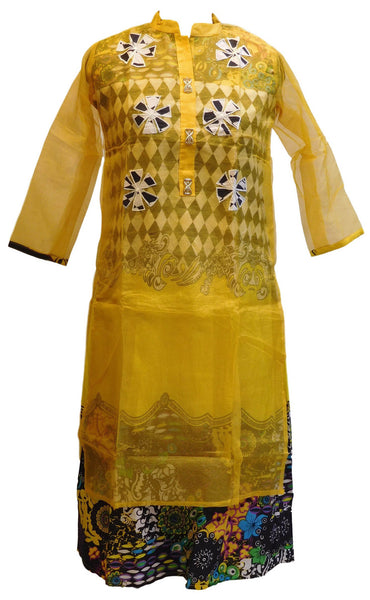 Yellow Designer Cotton (Supernet) Kurti With Attached Skirt