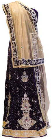Beige & Purple Designer Bridal Hand Embroidery Work Velvet Lahenga With Net Dupatta & Velvet Blouse