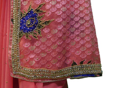 Pink Designer Gerogette (Synthetic) Hand Embroidery Stone Border Sari Saree
