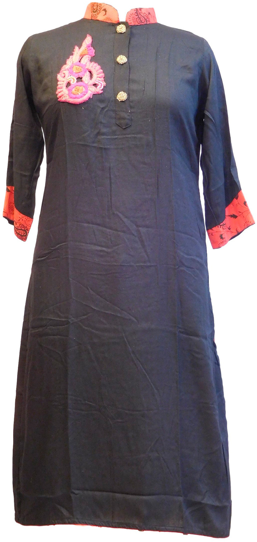 Black Designer Cotton Silk Kurti