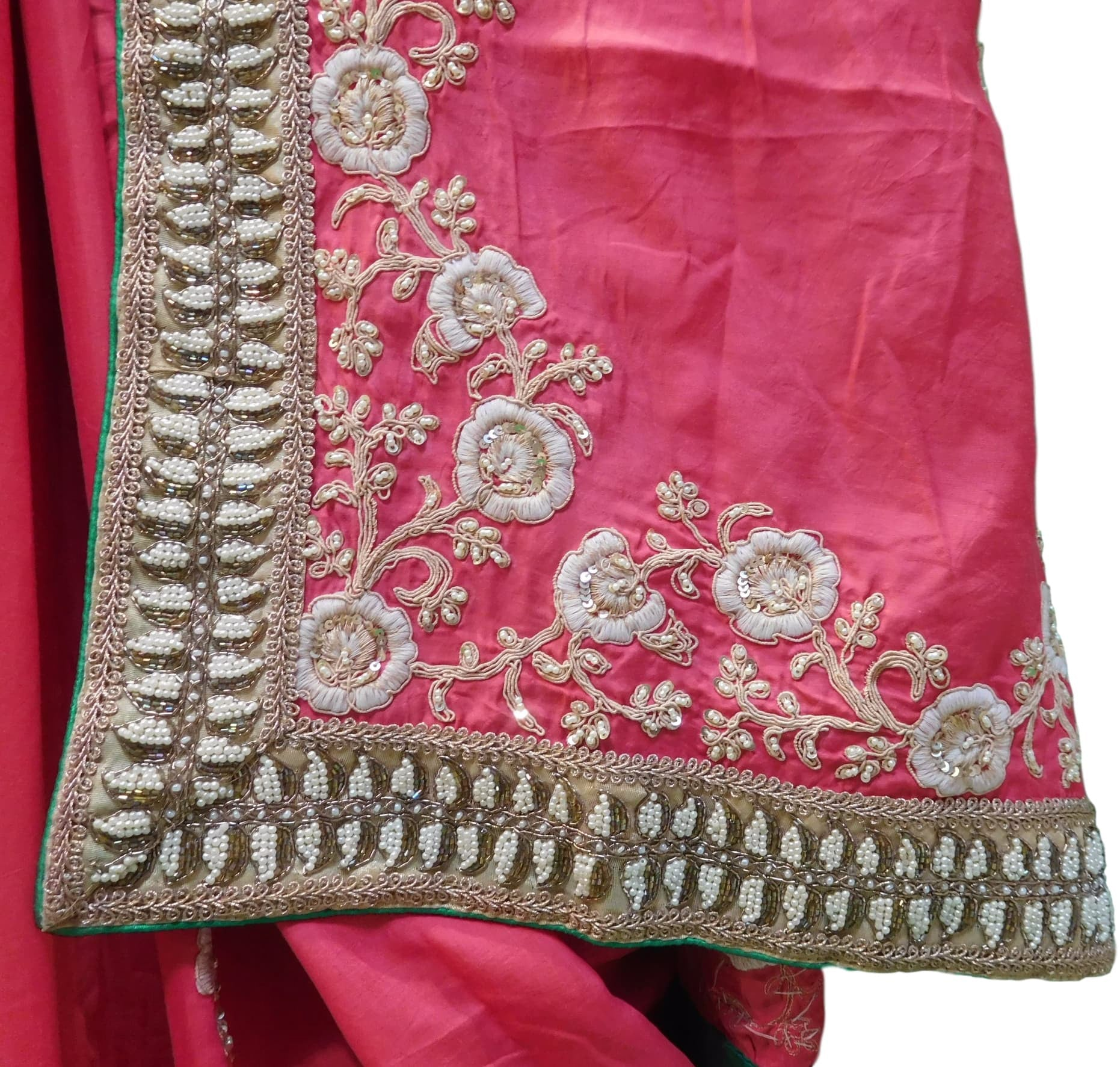 Pink Designer Georgette (Viscos) Hand Embroidery Work Sari Saree