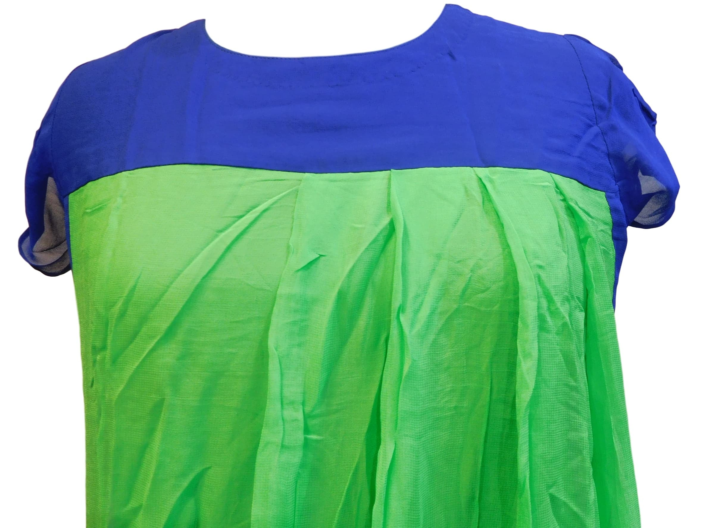Green & Blue Designer Cotton (Chanderi) Kurti