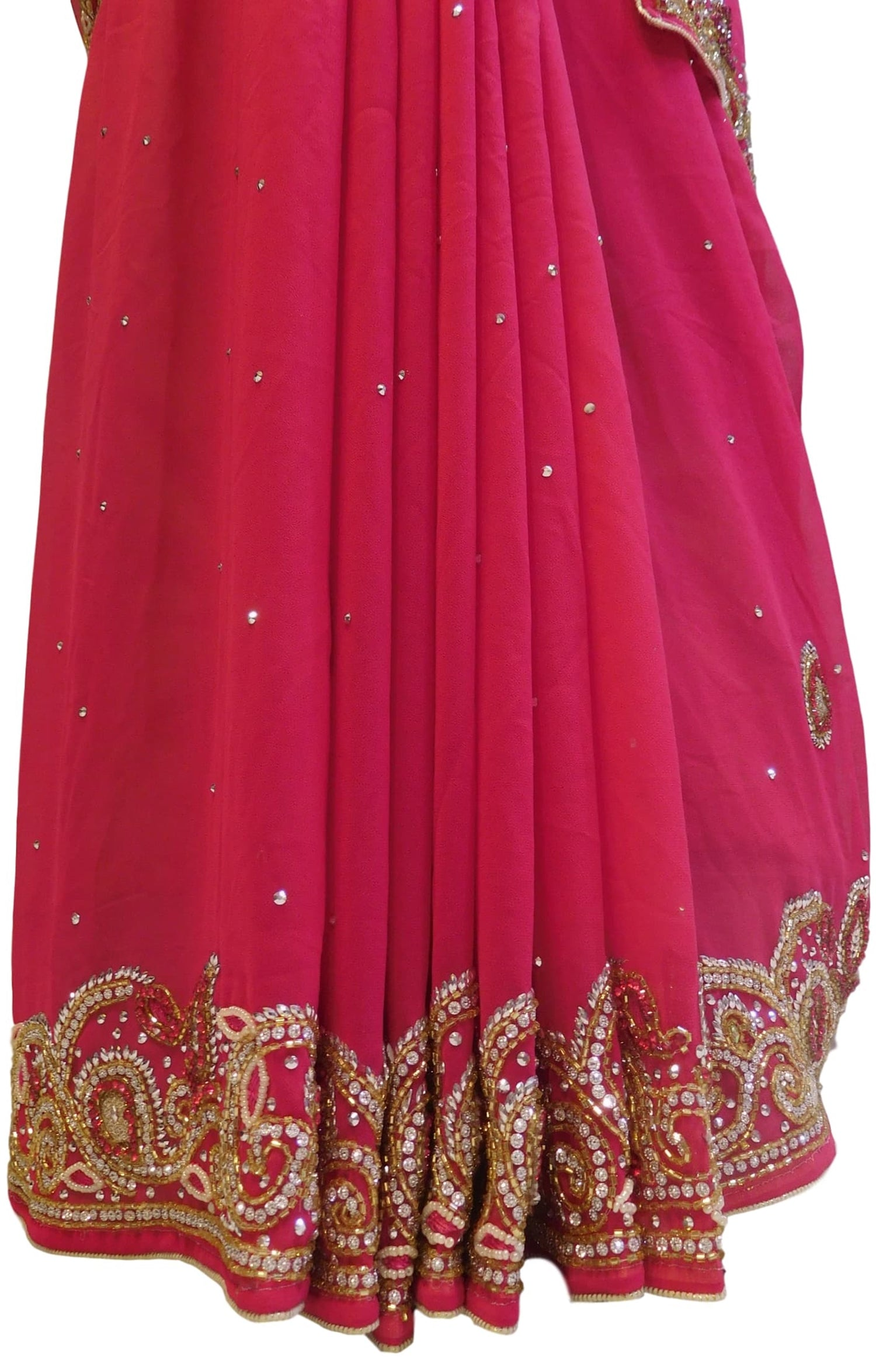 Pink Designer Georgette Hand Embroidery Cutdana Thread Beads Stone Work Saree Sari