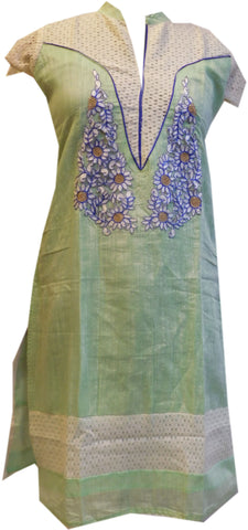 Green Designer Cotton (Chanderi) Kurti