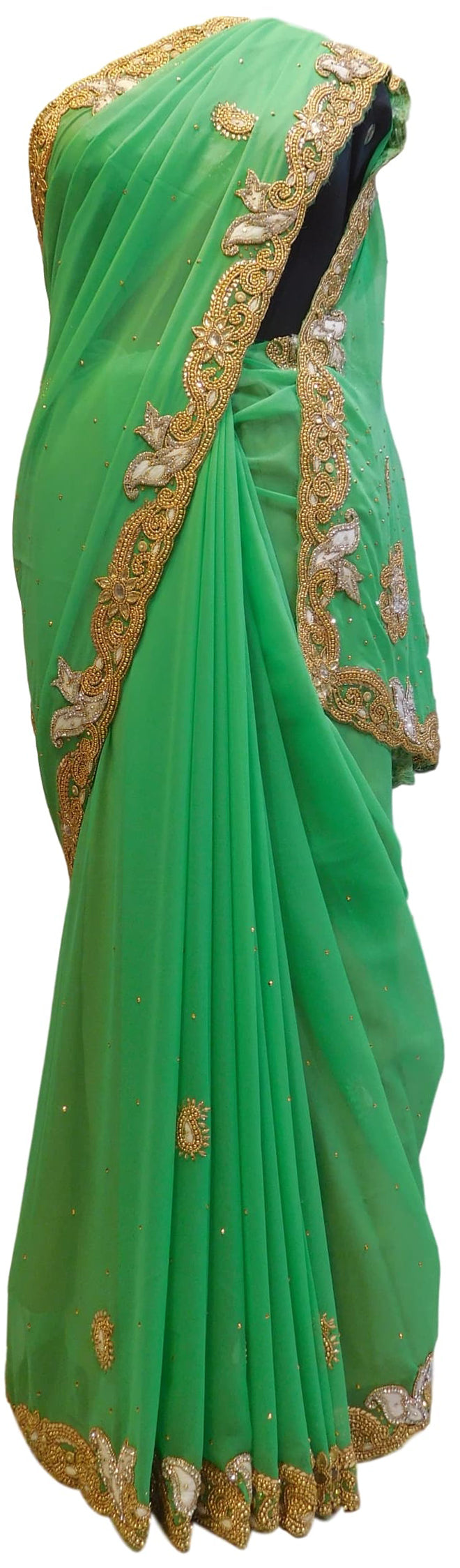Green Designer Georgette Hand Embroidery Thread Stone Beads Work Saree Sari