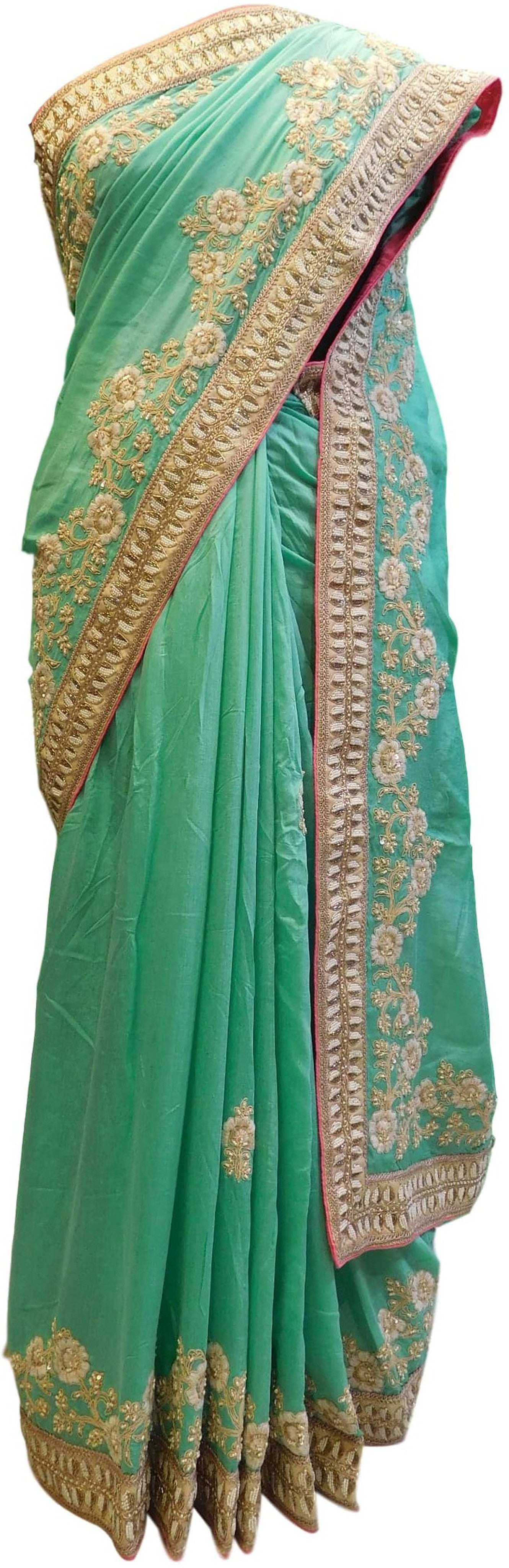 Green Designer Bridal Georgette Sari Zari, Stone, Sequence, Cutdana & Pearl Hand Embroidery Work Saree
