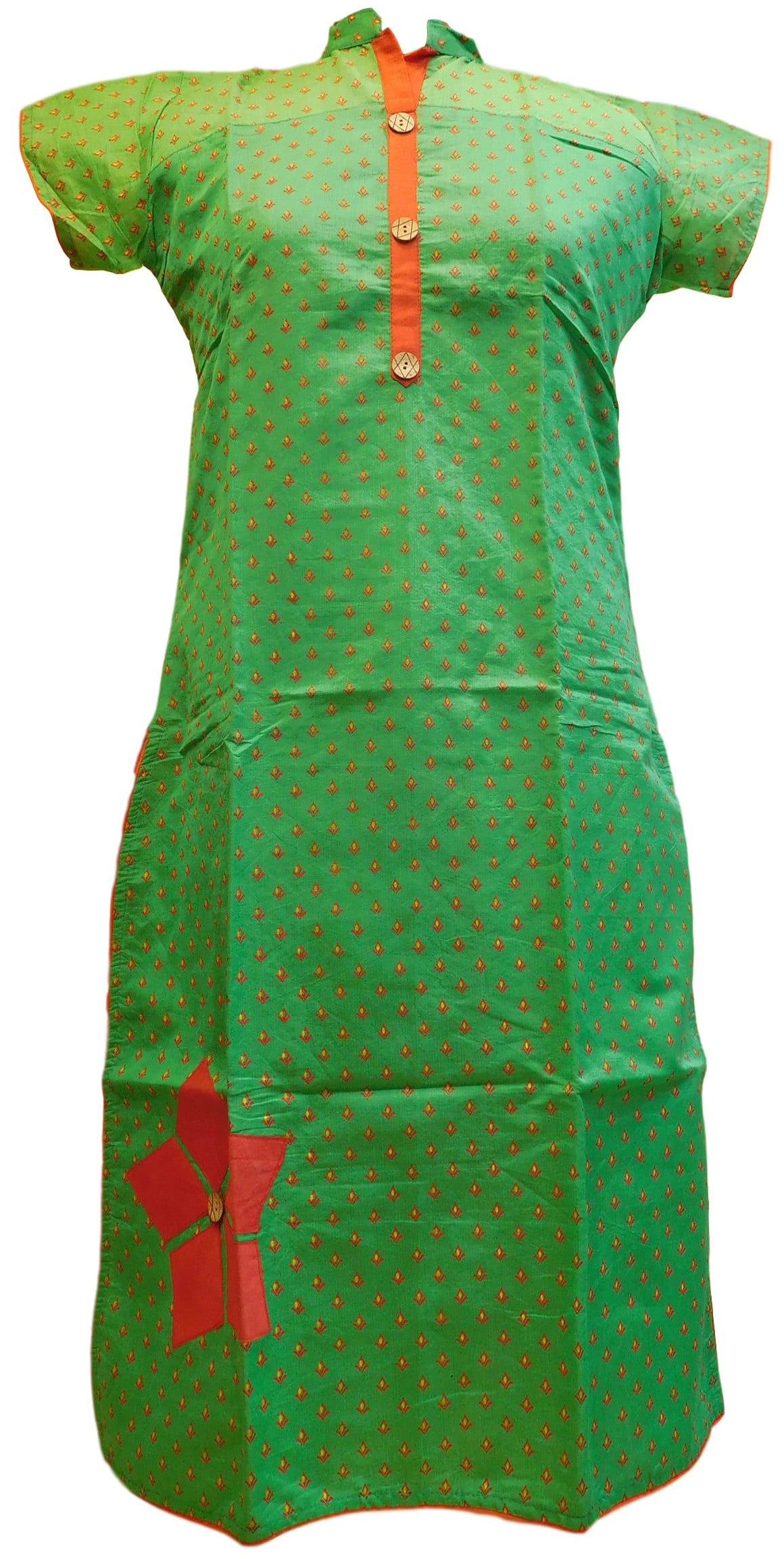 Green & Red Designer Cotton (Chanderi) Kurti