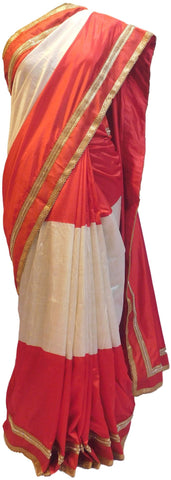 Red & White Designer Silk Saree