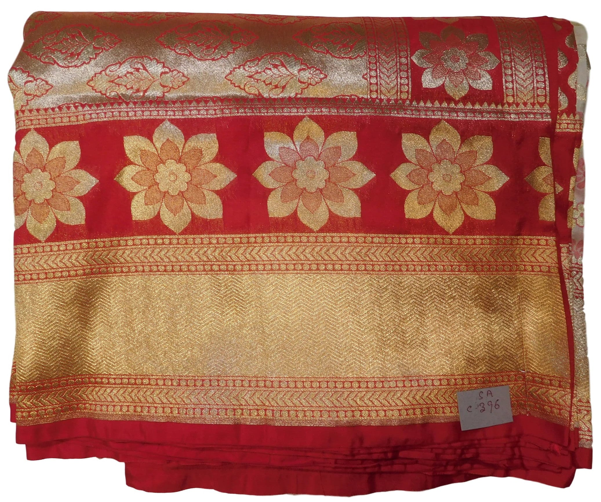 Red & Cream Designer Bridal Hand Weaven Pure Benarasi Zari Work Saree Sari With Blouse