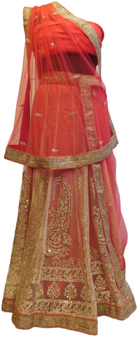 Red Designer Bridal Hand Embroidery Work Net Lahenga With Net Dupatta & Silk Blouse