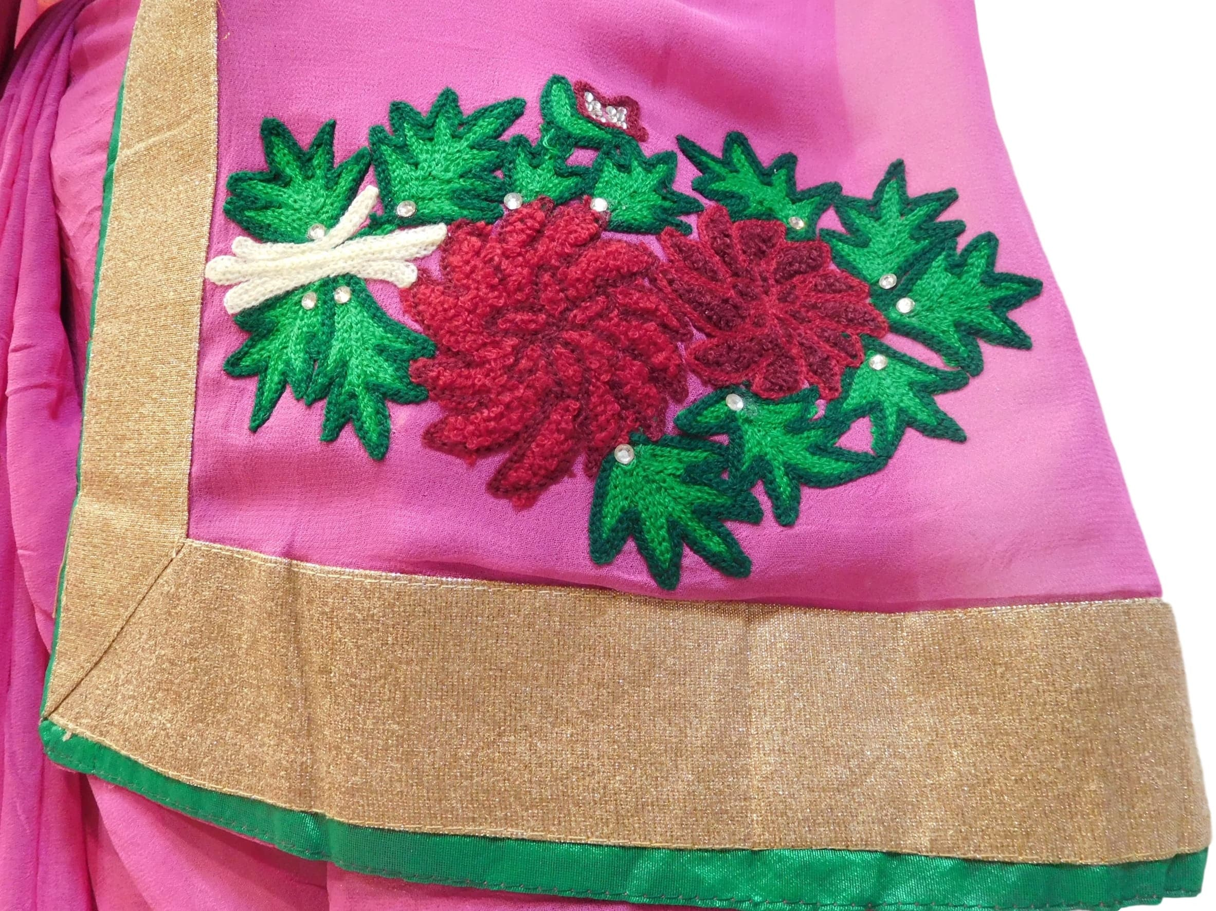 Pink Designer Georgette (Viscos) Hand Embroidery Work Saree Sari