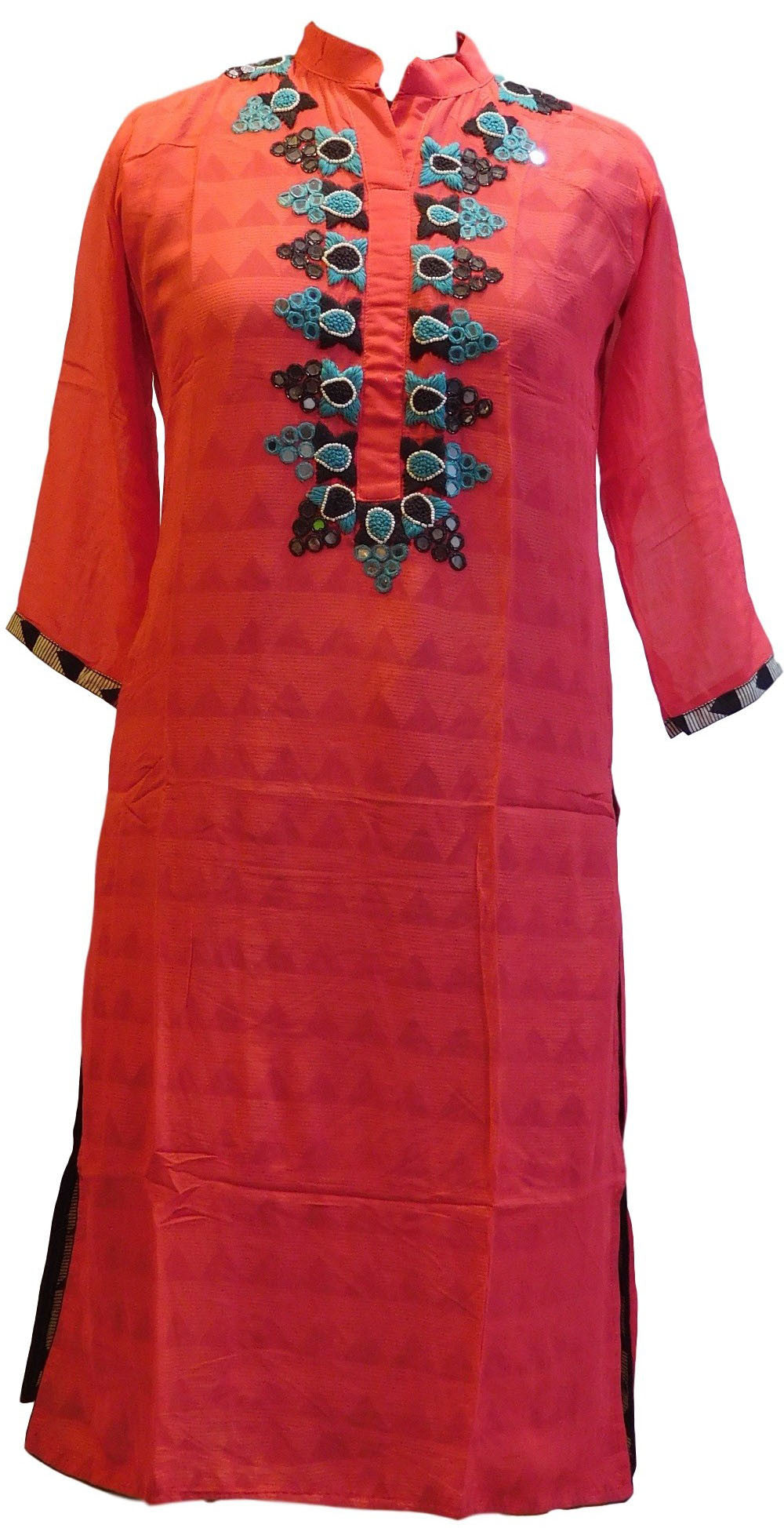 Pink Desingner Georgette (Viscos) Kurti With Cotton Printed Lining