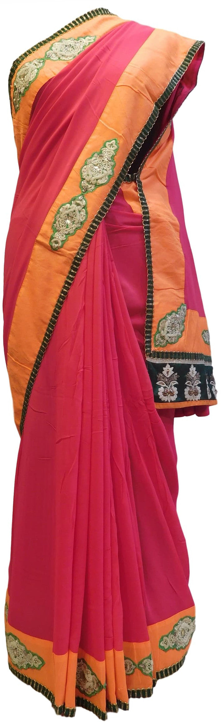 Red & Orange Designer Georgette (Viscos) Hand Embroidery Work Saree Sari