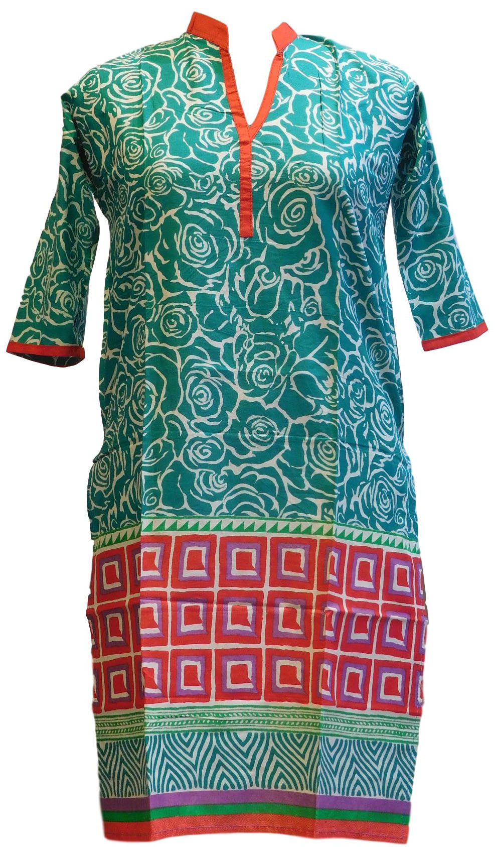 Red, Turquoise & White Designer Cotton (Chanderi) Printed Kurti