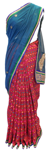 Blue & Red Designer Supernet Saree