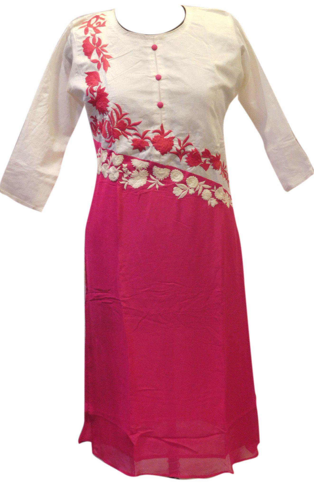 Pink & White Designer Georgette & Cotton Kurti