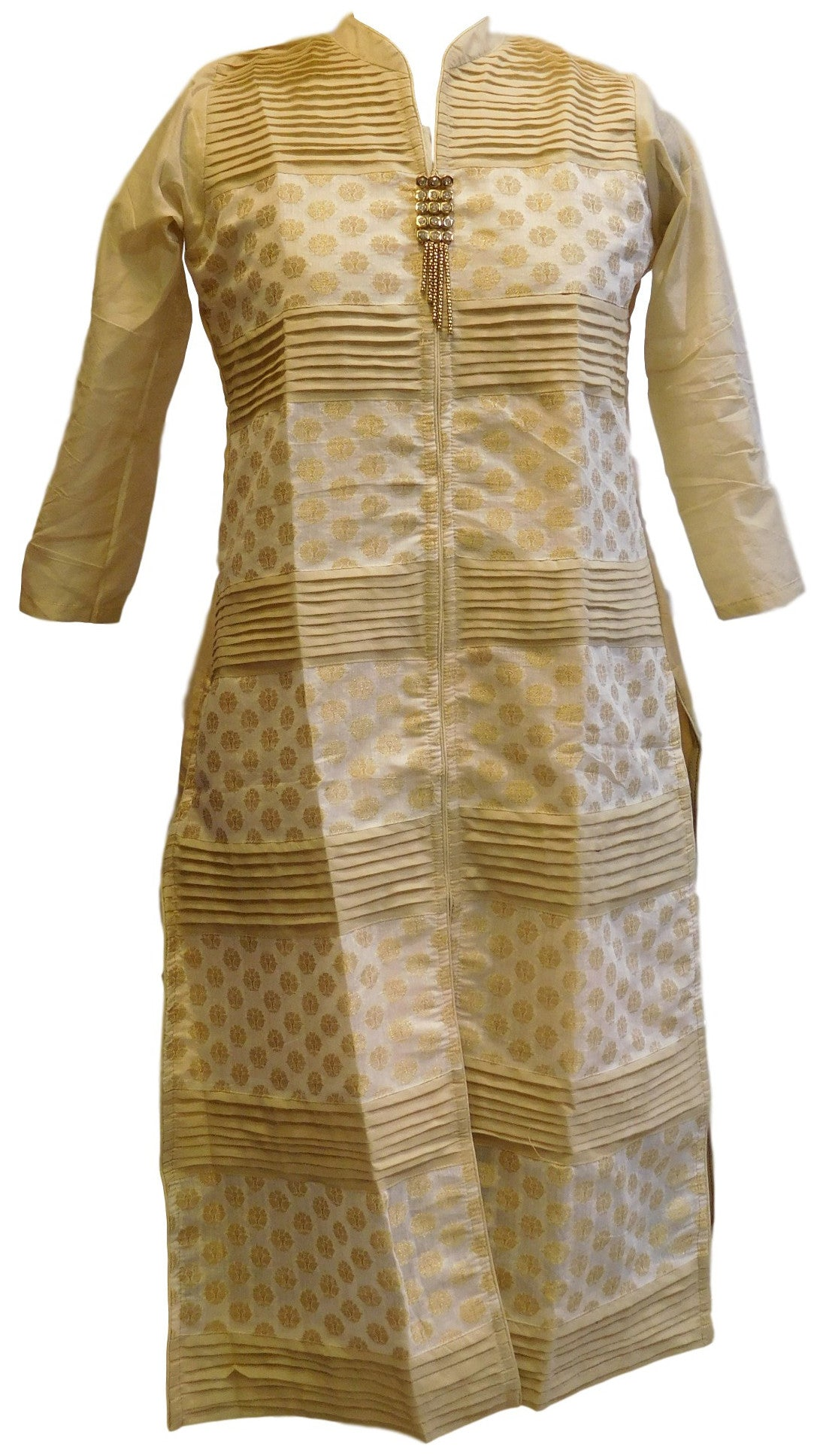 Cream & White Designer Cotton (Chanderi) Kurti