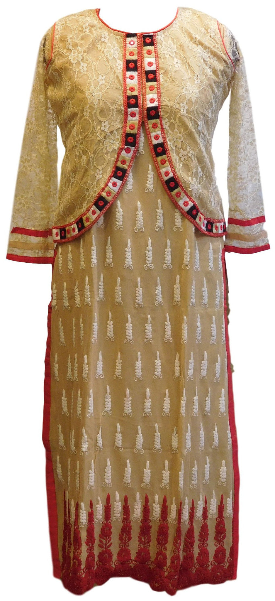 Beige Designer Georgette (Viscos) Kurti With Detachable Chantley Net Jacket