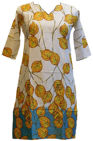 Yellow & White Designer Cotton (Chanderi) Printed Kurti