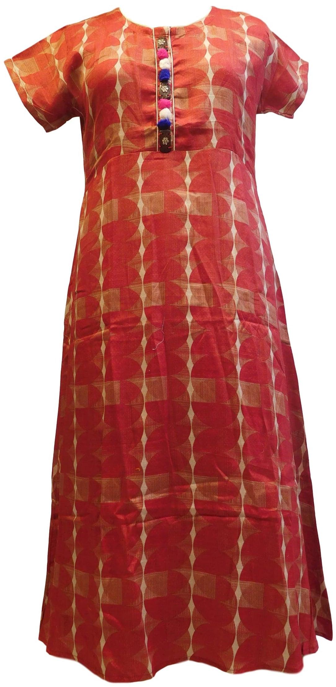 Red Designer Cotton (Rayon) Printed Kurti Kurta