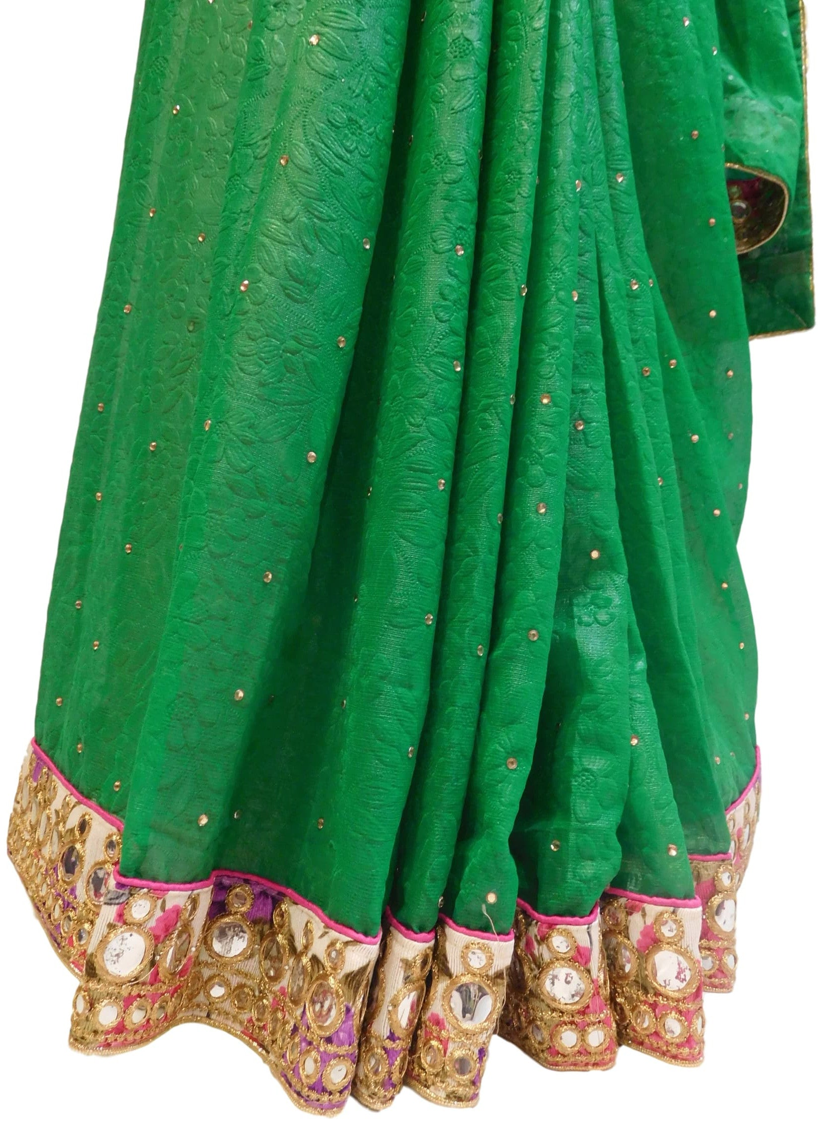 Green Designer Georgette Hand Embroidery Work Saree Sari