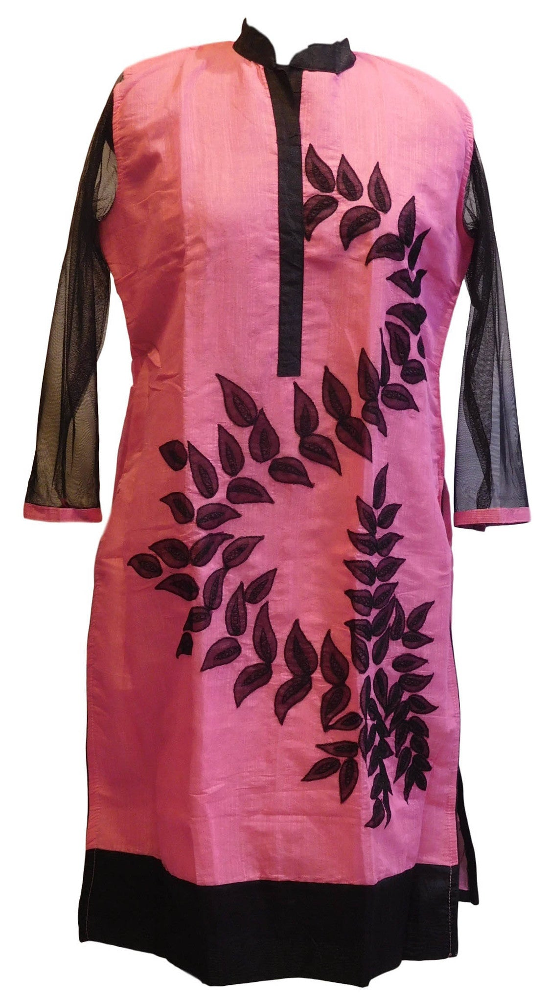 Pink & Black Designer Cotton (Chanderi) Kurti With Georgette Sleeves