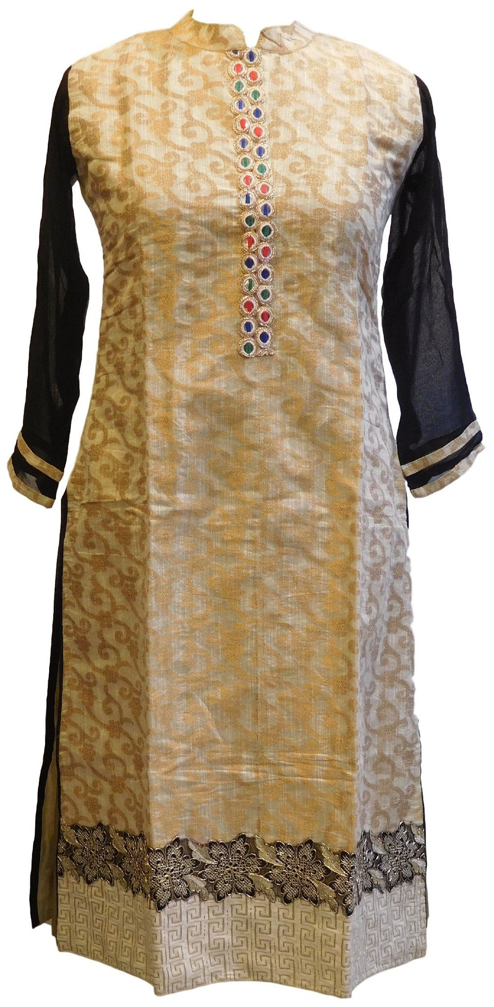 Cream & Black Designer Brocade Kurti With Georgette Sleeves