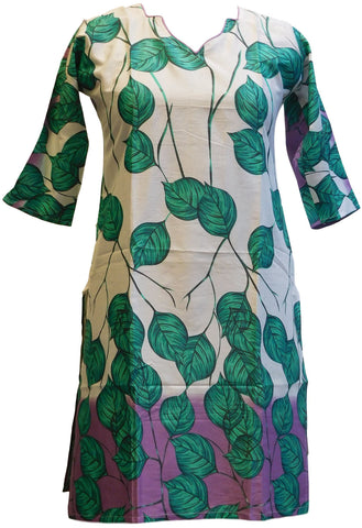 Turquoise & White Designer Cotton (Chanderi) Printed Kurti