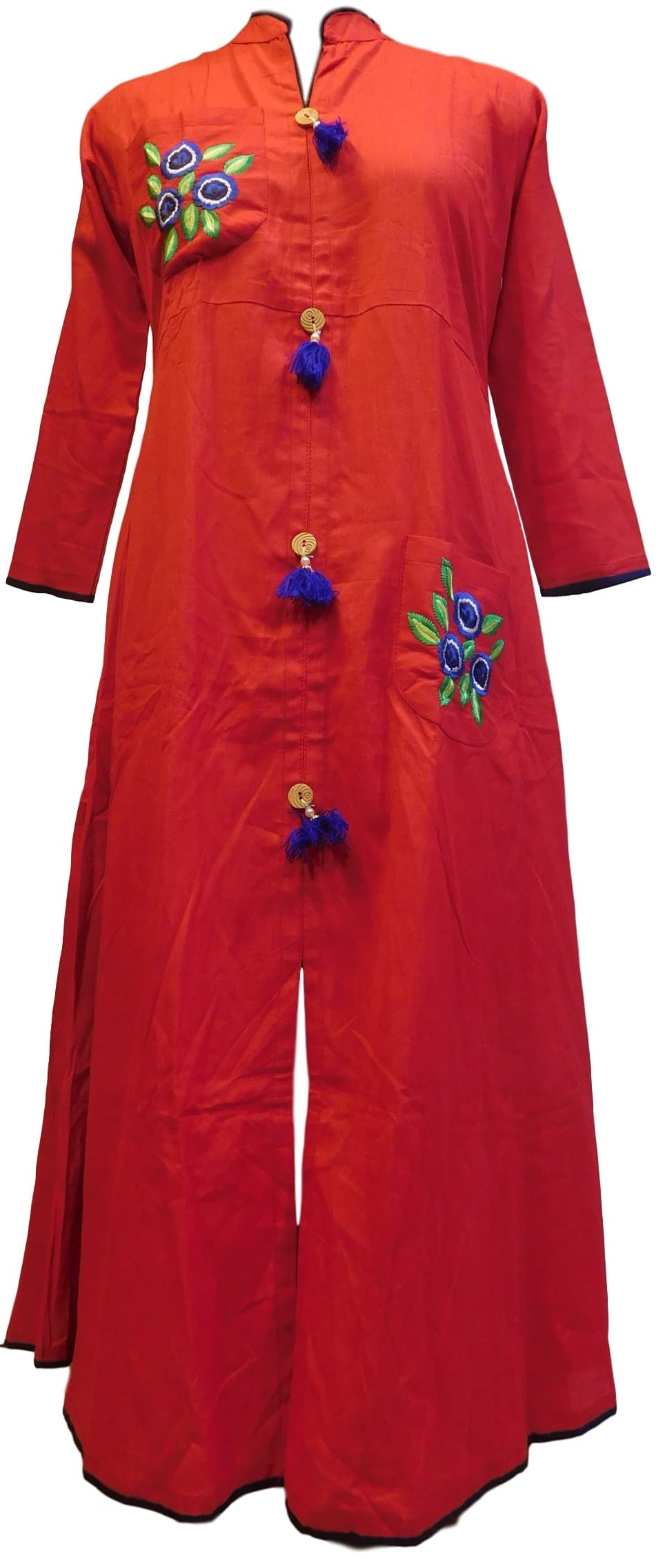 Red Designer Pure Cotton Thread Work Kurti Kurta