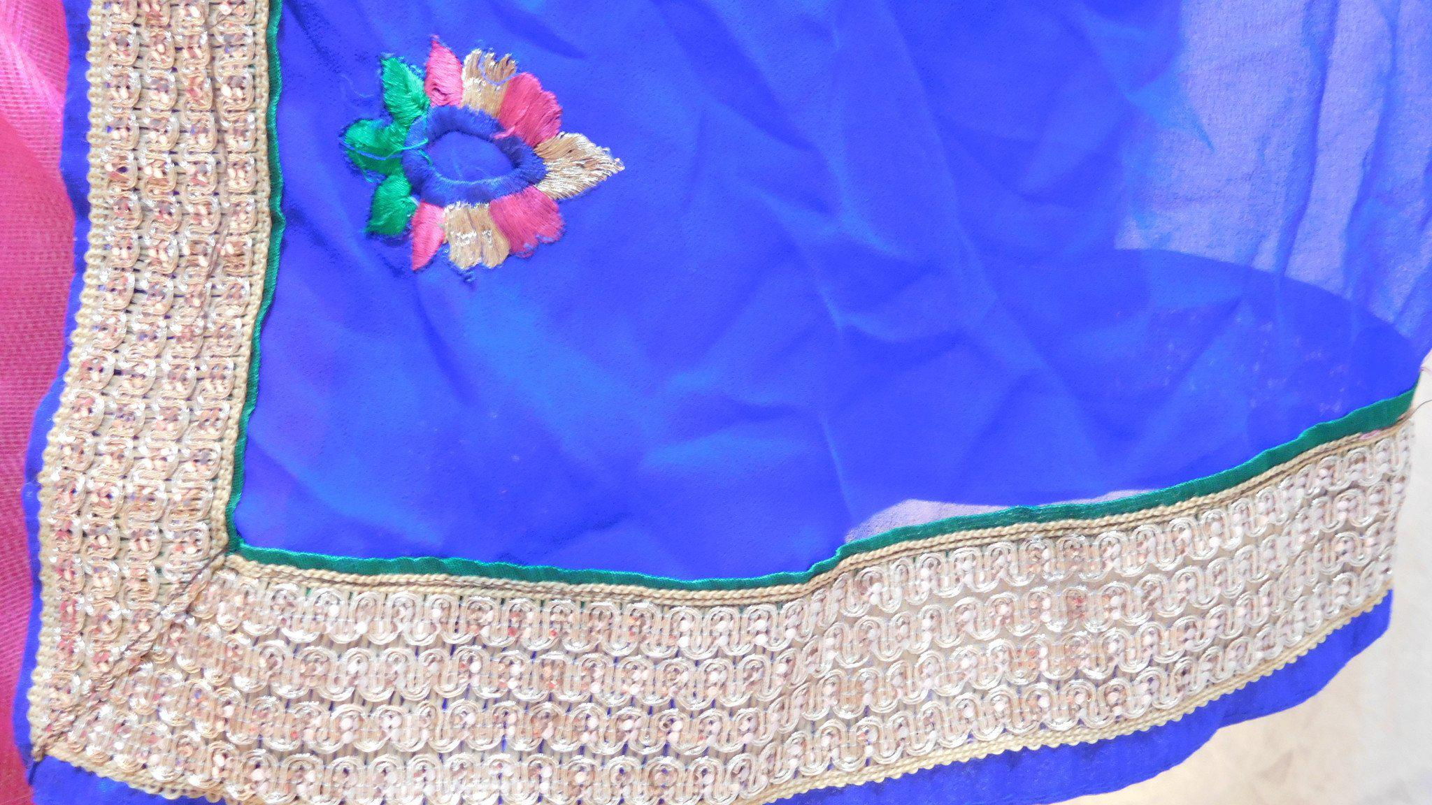 Blue Pink Designer Supernet Saree