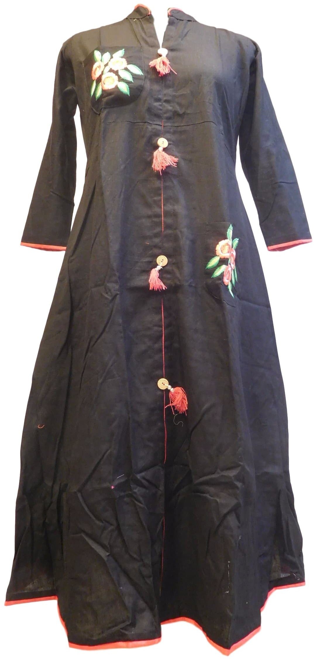 Black Designer Pure Cotton Thread Work Kurti Kurta