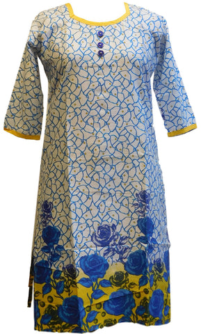 Yellow, Blue & White Designer Cotton (Chanderi) Printed Kurti