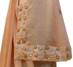 Peach Designer Georgette (Viscos) Hand Embroidery Cutdana Pearl Beads Stone Work Saree Sari