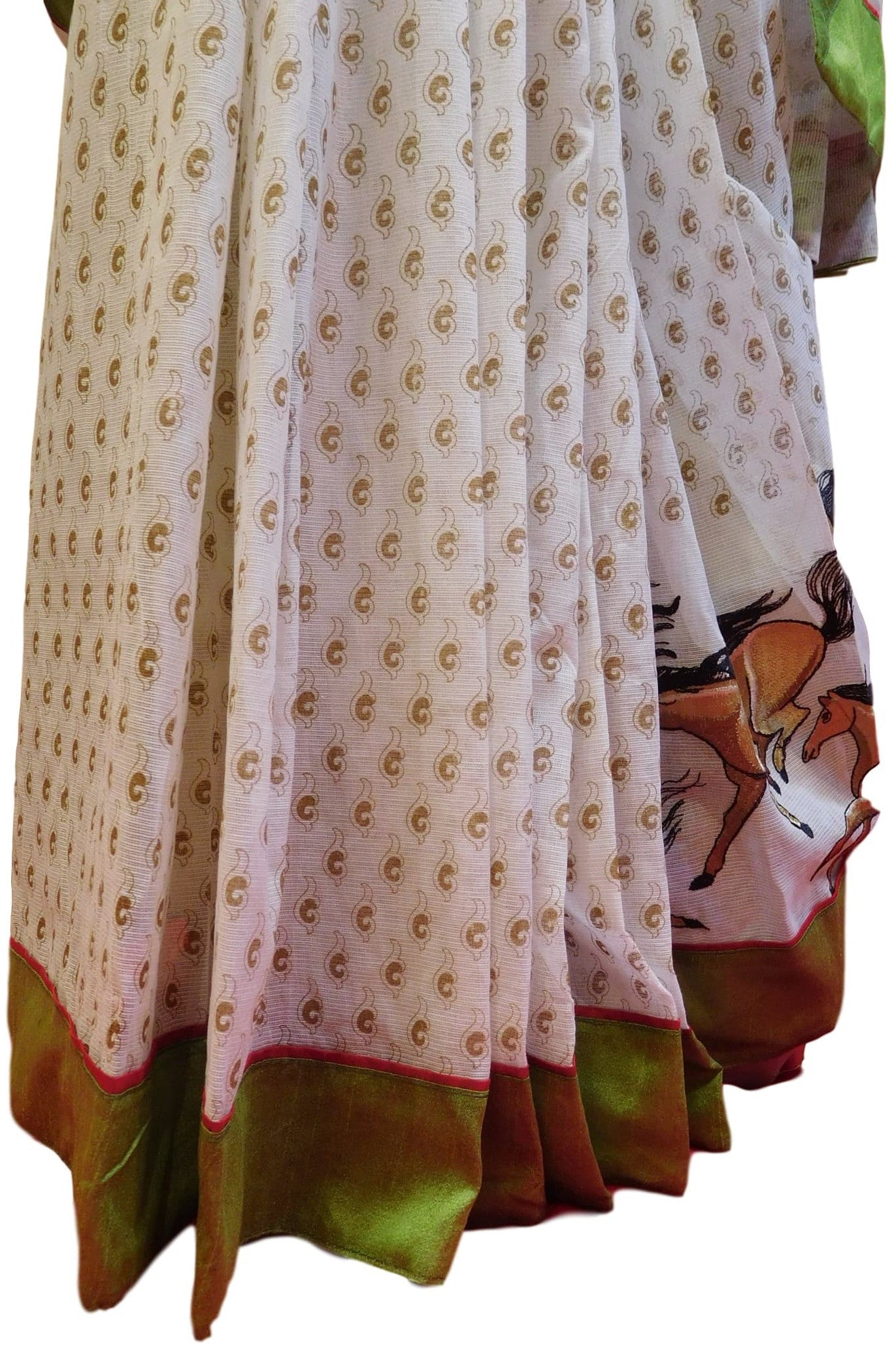 White Designer Pure Cotton Thread Embroidery Printed Sari With Green Border Saree