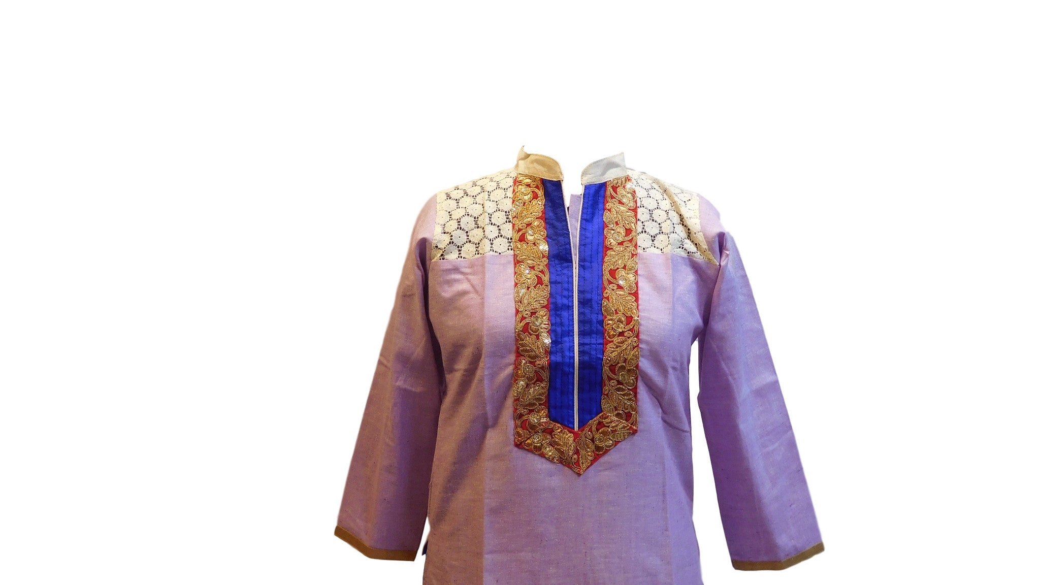 Violet Stylish Cotton (Chanderi) Kurti