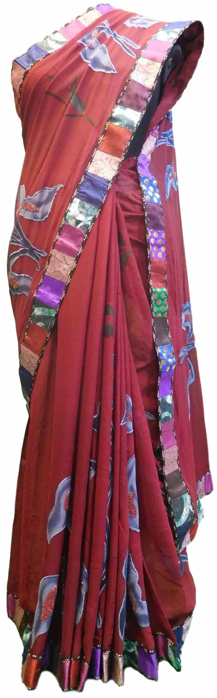 Wine Designer Georgette Sari Zari, Thread Embroidery Work Saree